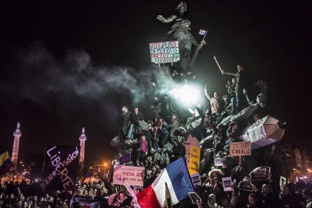 © Corentin Fohlen/ pour Stern et Paris Match/ Divergence. Paris, France. 11 janvier 2015. Manifestation à Paris contre le terrorisme et en soutien aux victimes de l'attaque contre le journal Charlie Hebdo et l'epicerie casher.